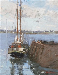 sailing boat at the quay by mary jackson