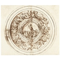 design for an elaborate basin with poseidon in the center, surrounded by a battle of tritons, the rim decorated with crabs and shells by jacopo strada