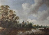 a river landscape with various vessels, a church beyond by frans de hulst