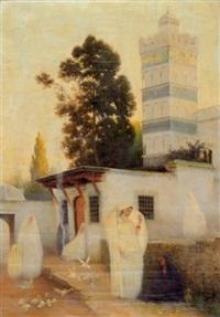 femmes au pied de la mosquée by emmanuel joseph lauret