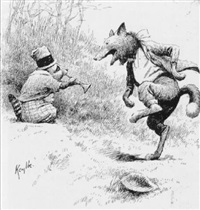 racoon playing horn to fox's dancing: an' crafty fox j s' clippin' his feels toget er n' actin' mos' scandalous by edward windsor kemble