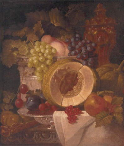 melon grapes plums berries strawberries and peaches in an ornamental bowl with an ornate tazza beyond by augustine vervloet