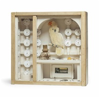 aviary (cockatoo and watches) by joseph cornell