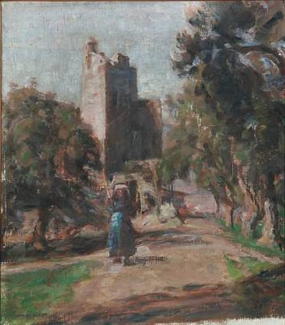southern landscape with ruins by julius paulsen