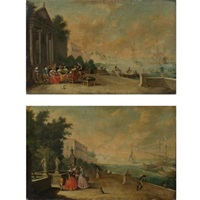views of bustling harbors with elegant figures strolling along the shore (pair) by vicente giner