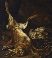 a hunting still life with a hare, two partridges and a kingfisher, with hunting paraphenalia, in a parkland setting by dirk valkenburg