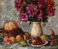 still life with fruit and flowers by matthias m. peschcke-køedt