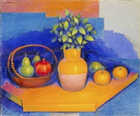 still life with vase and fruits by georges akopian