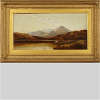 highland lake with cattle watering by charles leslie