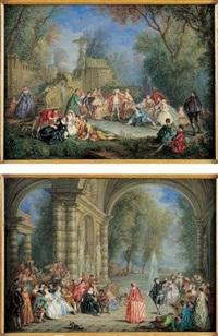 scène de bal sous les arcades d'un palais by alexandre paul joseph veron