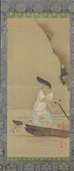 ebisu in a boat by kiyu ichikawa