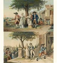 l'arrivée des jeunes mariés (+ la promenade du nouveau-né; 2 works) by jean-baptiste verzy