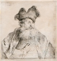 old man with a divided fur cap by rembrandt van rijn