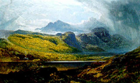 llyn crafnant moel siabed in the distance north wales by charles pettitt
