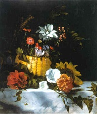 a basket of flowers on a marble ledge by dirk de bray