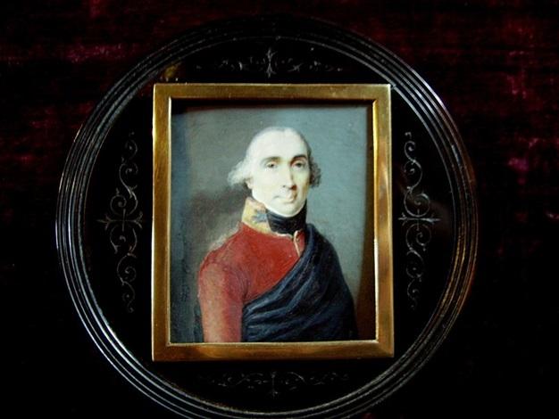 portrait dhomme en uniforme brun rouge et manteau bleu by johann heinrich schmidt