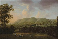 view of holnicote house, somerset, with harvesters resting in foreground by william tomkins