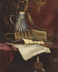 still life with trombone and books on a table by john bond francisco
