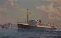 steamship near bradley's head (tsmv sydney star) by john allcott