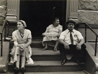 three figures on a stoop, new york city by helen levitt
