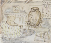pooh visiting in owl's parlour by ernest h. shepard