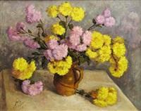 yellow and violet zinnias by mihai cotovanu