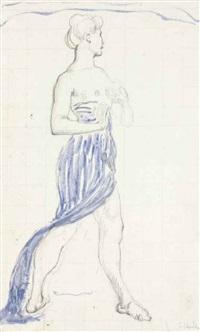 die empfindung, erste figur von rechts (study, + 3 others, irgr; 4 works) by ferdinand hodler and jeanne charles cerani-ciic