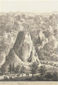 a mountainous landscape with a genoese castle on a hill top, with a town at the bottom by giacomo quarenghi