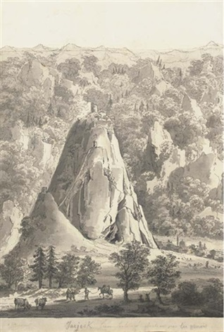 a mountainous landscape with a genoese castle on a hill top with a town at the bottom by giacomo quarenghi