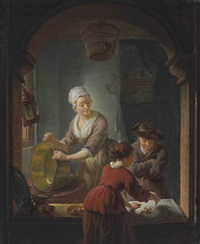 an interior with a kitchen maid cleaning a copper pot and a youth and young woman playing jeu de l'oie by louis de moni