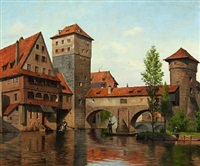 scene from nürnberg with people by the river by august fischer