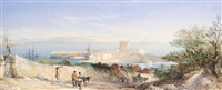 st. aubin's bay and castle, jersey by alfred herbert