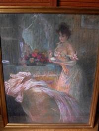 jeune femme à la toilette by edouard gelhay