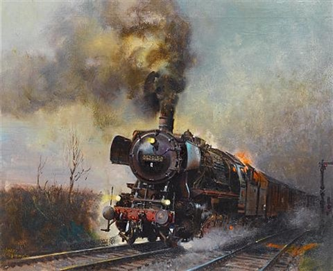 the evening star freight train german state railways by terence cuneo