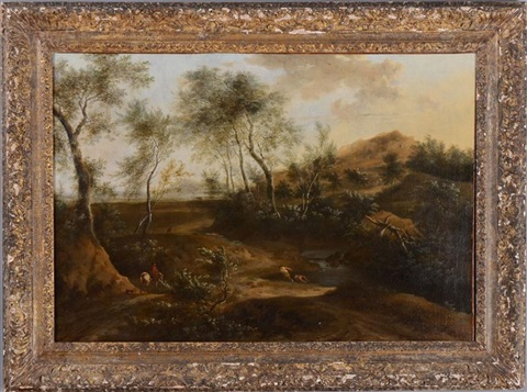 wooded landscape with figures by frederick de moucheron