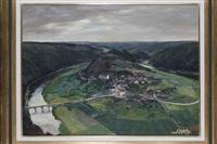 vue d'un village dans la vallée by gilbert maurice hubin