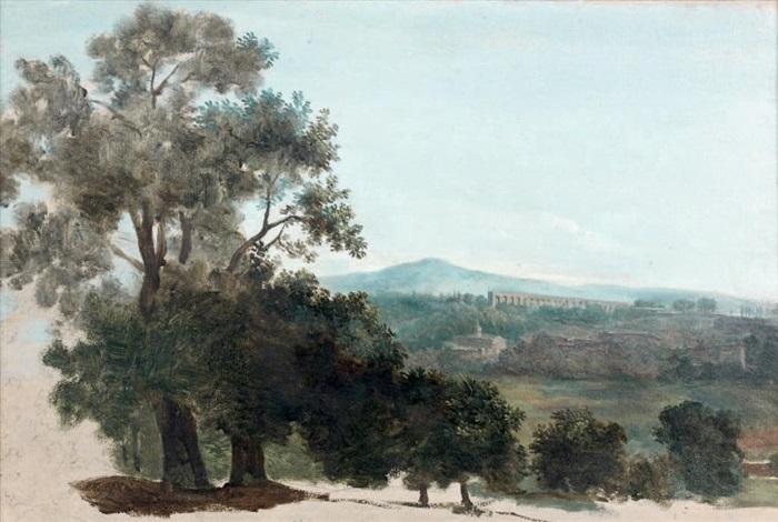 vue de la campagne romaine avec laqueduc léglise de san giovanni a porta latina et le monte cavo by pierre henri de valenciennes