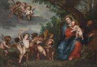 paysage animé de la sainte famille et de putti pendant la fuite en egypte by peeter van avont