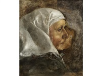 head study of an old lady by le nain brothers