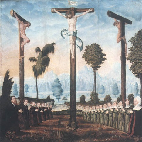 the crucifixion with a donor family kneeling at the foot of the three crosses by danube school 16