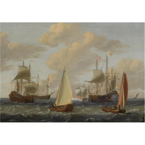 dutch merchant men a kaag and other sailing vessels in choppy waters by adam silo