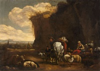 landscape with shepherds and riders by philips wouwerman
