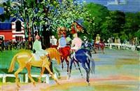 jockey devant le pavillon roumain à auteuil by jean mablord