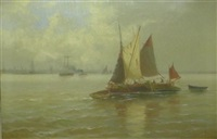 fishing boats off the coast by edward henry eugene fletcher