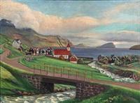 view from a fiord on the faroe islands by joen waagstein