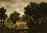 bewaldete flusslandschaft mit einem bauernhaus und einem steg by isaac koene