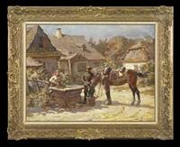 horses watering by stanislaw bagienski
