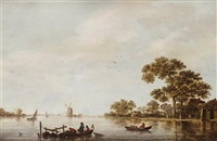 a river landscape with fishermen in their boats and figures on the shore, shipping beyond by jan coelenbier