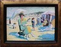 femme à l'ombrelle sur la plage de trouville by martin lindenau