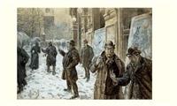 place du châtelet un soir de neige by henri lanos